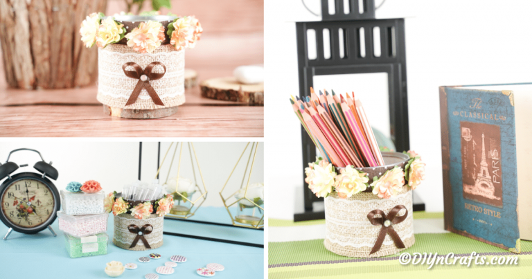 Rustic Burlap Lace Wrapped Decorative Storage Can