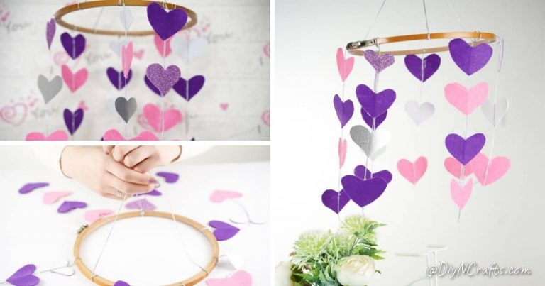Gorgeous Valentine Hanging Paper Hearts Mobile