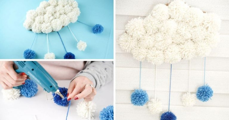 Adorable Yarn Pom Pom Cloud Wall Art
