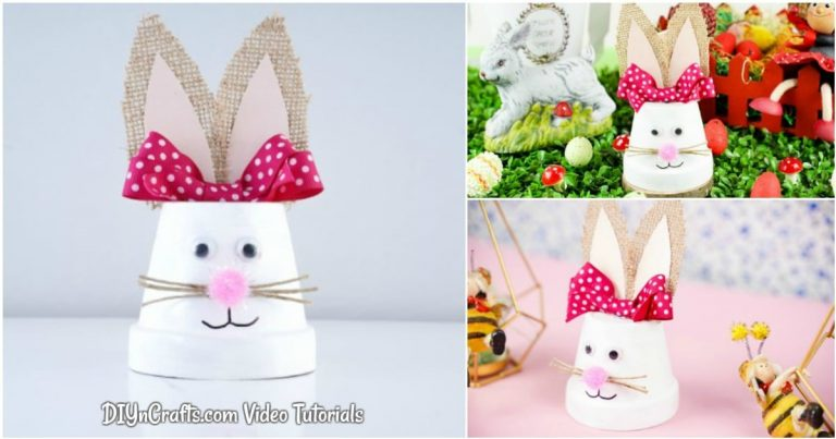 Cute Upcycled Flower Pot Easter Bunny Decoration