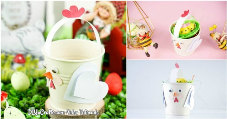 Easy Upcycled Bucket Chicken Spring Craft