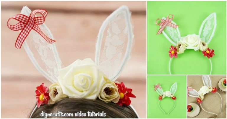 Cute Lace Bunny Ears Headband Craft (Video Tutorial)