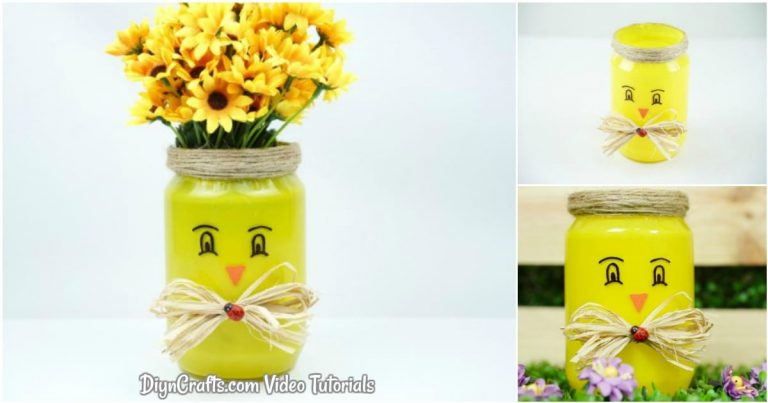 Cute Upcycled Mason Jar Chicken Vase