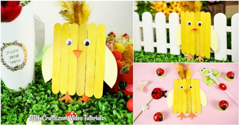 Easy Painted Popsicle Stick Chicken Craft