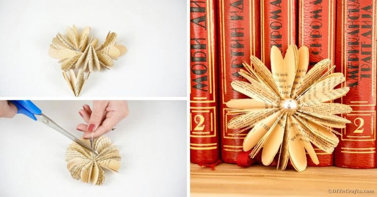 Cute Paper Flower Made from Old Book Pages