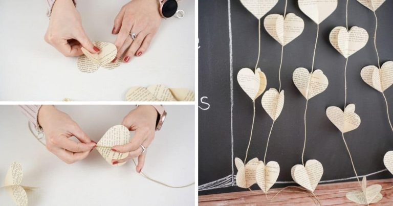 Country Chic DIY Paper Heart Hanging Garland