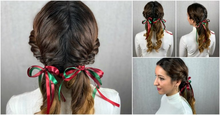 Fishtail Ponytail Pigtails with Bow Accent {Hairstyle Tutorial}