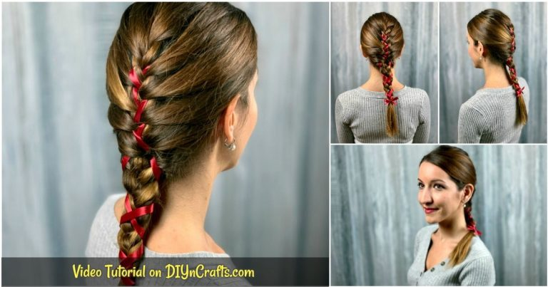 Beautiful & Simple Braid with Ribbon Hairstyle for Long Hair