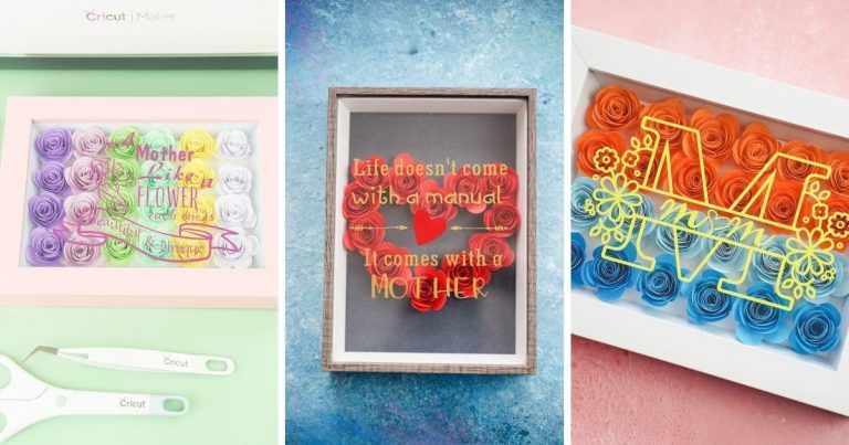 DIY Cricut Mother's Day Floral Shadowbox with 3 Designs